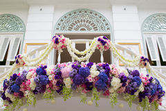 Decorated balcony with colorful beautiful flower, tropical clima Royalty Free Stock Image