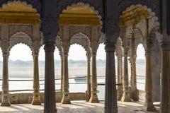 Temple balcony in Varanasi, India royalty free stock photo
