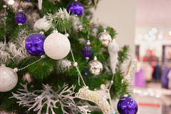 Decorated with balloons Christmas tree Royalty Free Stock Photo