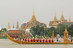 Decorated barge parades at the Chao Phraya River Stock Photography