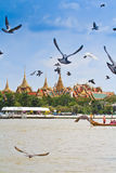 Decorated barge parades past the Grand Palace at the Chao Phraya River Royalty Free Stock Photo
