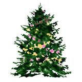 Decorated beautiful green christmas tree, fir-tree for Christmas holidays, isolated, watercolor illustration on white. Background Stock Photography