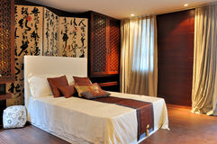 Decorated bedroom in oriental luxury style Royalty Free Stock Images