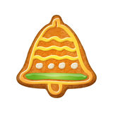 Decorated bell. Gingerbread cookie. Royalty Free Stock Image