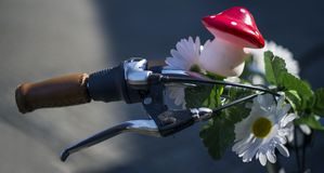 Decorated bicycle handlebar Royalty Free Stock Images