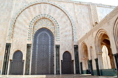 Decorated big door in Hassan 2 mosque in Morocco Stock Photo