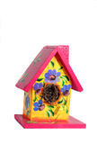 Decorated Bird House. Hand painted bird house isolated on white Royalty Free Stock Photography