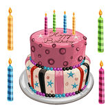 Decorated birthday cake Royalty Free Stock Image