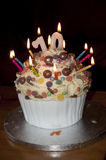 Decorated birthday cake with candles Stock Image