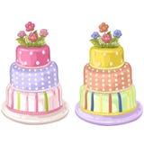 Decorated birthday cake vector illustration