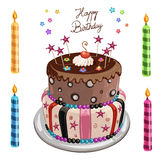 Decorated birthday cake Royalty Free Stock Photography
