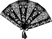 Decorated black fan isolated on white Stock Photos