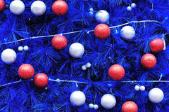 Decorated blue christmas tree Stock Photography
