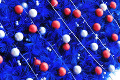 Decorated blue christmas tree Royalty Free Stock Images