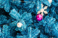 Decorated Blue Christmas tree Royalty Free Stock Photos