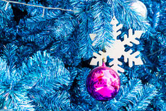 Decorated Blue Christmas tree Royalty Free Stock Image