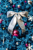 Decorated Blue Christmas tree Stock Images