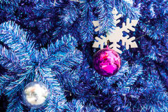 Decorated Blue Christmas tree Royalty Free Stock Photography