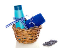 Decorated blue towel and soap Royalty Free Stock Images