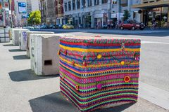 Decorated bollard on Flinders street in Melbourne, Australia Royalty Free Stock Photography
