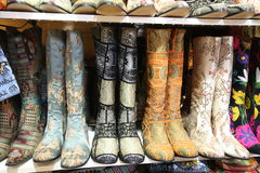 Decorated boots for ladies Royalty Free Stock Images