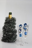 Decorated bottle of champagne and glasses Royalty Free Stock Photos