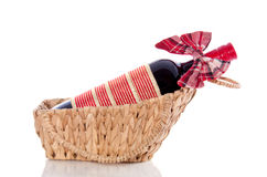 A decorated bottle of red wine Stock Image