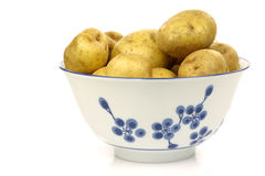 Decorated bowl with fresh potatoes Stock Photos