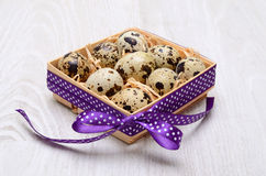 Decorated box with quail eggs Royalty Free Stock Images