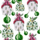 Watercolor christmas pattern. Contains snowflakes, Christmas balls. stock illustration