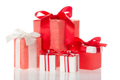Decorated boxes isolated Royalty Free Stock Photo