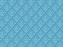 Decorated bright blue 3D rhombuses and squares in seamless pattern Stock Image