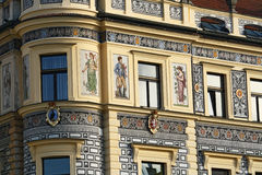 Decorated building. Decorated facade with paintings. Pisek. Czech Republic royalty free stock photography