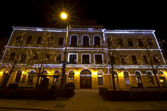 Decorated building at christmastime in Debrecen Royalty Free Stock Image