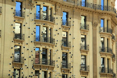 Decorated building facade with artwork in Barcelona Royalty Free Stock Photo