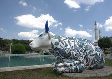 Decorated bull statue Stock Photo
