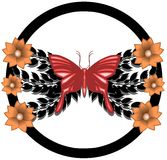 stylized butterfly with leaves and flowers isolated Stock Image