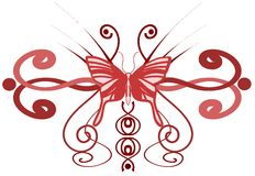 Decorated butterfly in red tones isolated. A butterfly decorated with an abstract fantasy. It can use as tattoo or decoration for a t shirt or other projects Stock Photos
