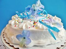 Decorated cake with blue background Stock Image