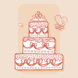 Decorated cake with pair of swans. Design element Royalty Free Stock Photos