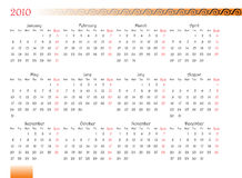 Decorated calendar of 2010. Horizontal oriented calendar grid of 2010 year with decorated font and ornament. Monday is first day of week Royalty Free Stock Photos
