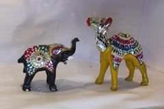 Decorated camels and elephant royalty free stock photo