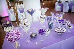 Decorated candies in purple Stock Photography