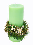 Decorated candle. Candle decorated for Christmas. Isolated. Clipping path Royalty Free Stock Photo