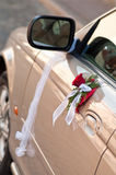 Decorated car. Cars side door decorated with bouqet and band Royalty Free Stock Photography
