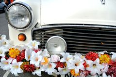 Decorated car with flowers Stock Image