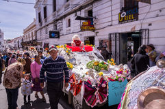 Decorated cars at Fiesta de la Virgen Guadalupe in Sucre. Sucre, Bolivia on September 8, 2015: Street parade with decorated cars to celebrate the Virgin of Royalty Free Stock Image