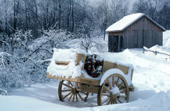 Decorated cart. Decorated wagon for christmas time Stock Photos