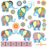 Decorated cartoon elephants Royalty Free Stock Photography