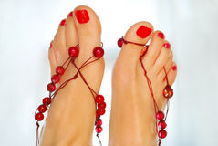 Decorated caucasian females feet Royalty Free Stock Photo